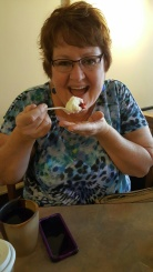 mom eating cupcake